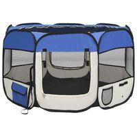 vidaXL Parc pliable pour chien avec sac de transport Bleu 110x110x58cm