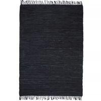 vidaXL Tapis Chindi tissé à la main Cuir 80 x 160 cm Noir