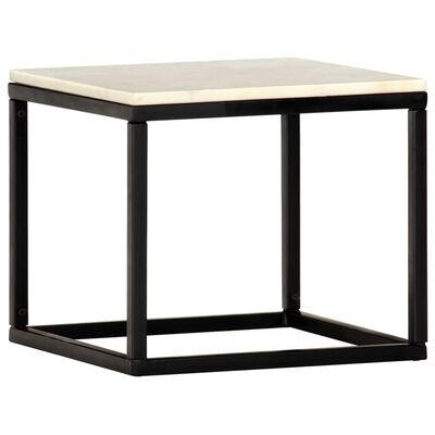 vidaXL Table basse Blanc 40x40x35 cm Pierre véritable texture marbre