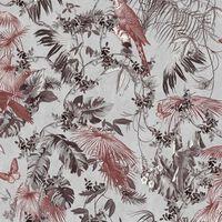 DUTCH WALLCOVERINGS Papier peint Feuilles et oiseaux Rouge et argenté