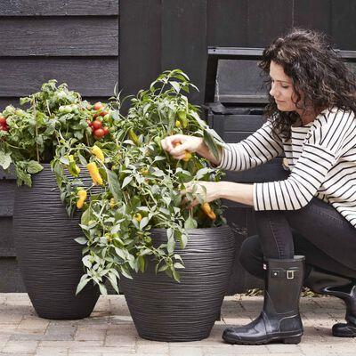 Capi Pot à fleurs Nature Rib Élégant Deluxe 40 x 60 cm Noir KBLR1131