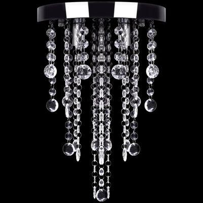 vidaXL Plafonnier avec perles de cristal Blanc Métal