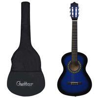 "vidaXL Guitare classique avec sac de débutants et enfants Bleu 1/2 34"""