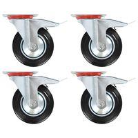 vidaXL Roulettes pivotantes avec double frein 4 pcs 160 mm