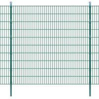vidaXL Panneau de clôture 2D jardin avec poteaux 2008x2030mm 2m Vert