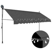 vidaXL Auvent manuel rétractable avec LED 350 cm Anthracite