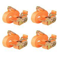 vidaXL Sangle d'arrimage à cliquet 4 pcs 0,4 tonne 6 m x 25 mm Orange