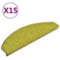 vidaXL Tapis de marches d'escalier 15 pcs Vert 65x21x4 cm
