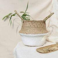 Paniers de rangement suspendus pliables en bambou fait à la main -