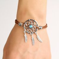 Bracelet attrape-rêves avec plume en alliage - bracelet fait main