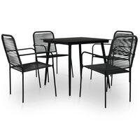 vidaXL Mobilier à dîner d'extérieur 7 pcs Corde en coton et acier Noir