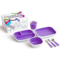 Munchkin Ensemble de vaisselle à manger 7 pcs Color Me Hungry Violet