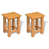vidaXL Tables d'appoint 2 pcs 27 x 24 x 37 cm Bois de chêne massif