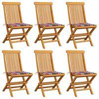 vidaXL Chaises de jardin et coussins à carreaux rouge 6pcs Teck massif