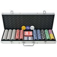 vidaXL Coffret de poker avec 500 jetons Laser Aluminium