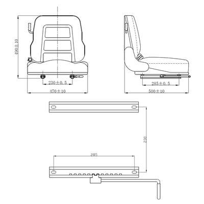vidaXL Siège de tracteur et de chariot élévateur Dossier réglable