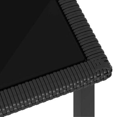 vidaXL Table à dîner de jardin Noir 70x70x73 cm Résine tressée