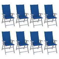 vidaXL Chaises inclinables de jardin avec coussins 8 pcs Gris Acacia