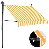vidaXL Auvent manuel rétractable avec LED 200 cm Blanc et orange