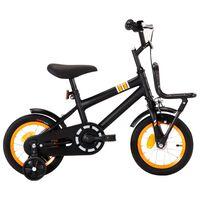 vidaXL Vélo d'enfant avec porte-bagages avant 12 pouces Noir et orange