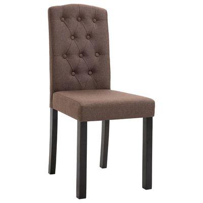 vidaXL Chaises de salle à manger 6 pcs Marron Tissu