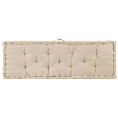 vidaXL Coussin de plancher de palette Coton 120x40x7 cm Beige