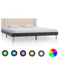 vidaXL Cadre de lit avec LED Crème et gris foncé Tissu 160 x 200 cm