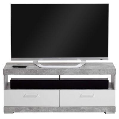 FMD Support TV/Hi-Fi Gris béton et blanc brillant