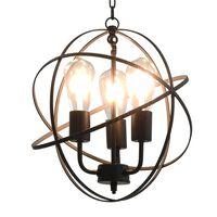 vidaXL Lampe suspendue Noir Sphère 3 ampoules E27