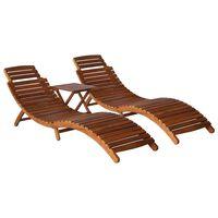 vidaXL Chaise longue avec table à thé 3 pcs Bois d'acacia massif