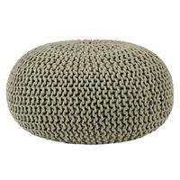 LABEL51 Pouf tricoté Coton L Vert olive
