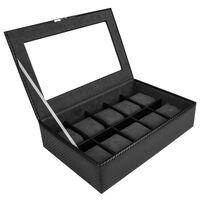 Boîte à Montres en Simili Cuir pour 10 Montres, Noir - William