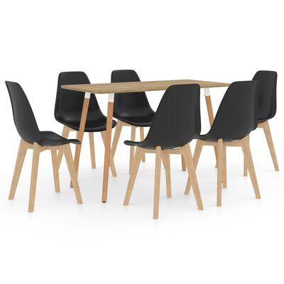 vidaXL Ensemble de salle à manger 7 pcs Noir