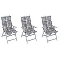 vidaXL Chaises inclinables de jardin 3 pcs avec coussins Bois d'acacia