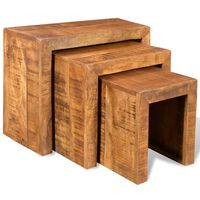 vidaXL Table gigogne 3 pcs Bois massif de manguier