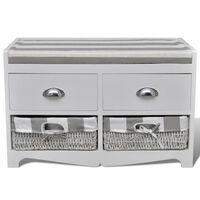 Banc de rangement avec 2 tiroirs et 2 paniers, coussin inclus