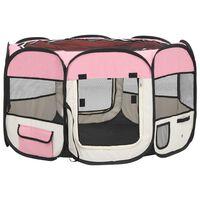 vidaXL Parc pliable pour chien avec sac de transport Rose 110x110x58cm