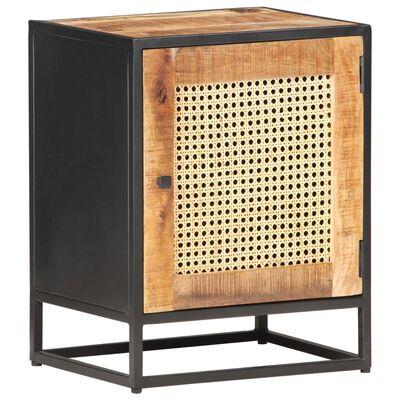 vidaXL Table de chevet 40x30x50 cm Bois de manguier et canne naturelle