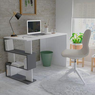 Homemania Bureau d'ordinateur Patara 120x60x75 cm Blanc et anthracite