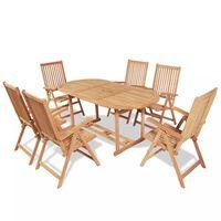 vidaXL Meuble à dîner de jardin 7 pcs et chaises pliables Teck solide