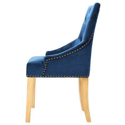 vidaXL Chaises de salle à manger 4 pcs Bleu Chêne massif et velours