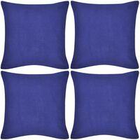vidaXL Housses de coussin Coton 4 pcs Bleu 40x40 cm