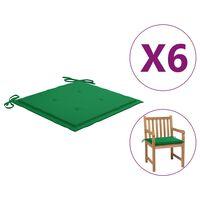 vidaXL Coussins de chaise de jardin 6 pcs Vert 50x50x4 cm Tissu
