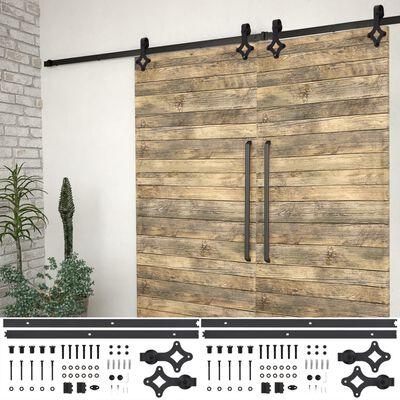 vidaXL Kits de fixation pour porte coulissante 2 pcs 200 cm Acier Noir