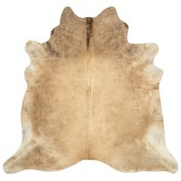 vidaXL Tapis en peau de vache véritable 150 x 170 cm Beige