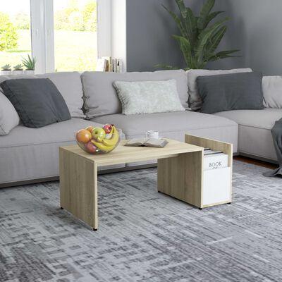 vidaXL Table basse Blanc et chêne sonoma 90x45x35 cm Aggloméré