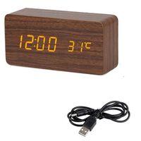 Horloge en bois LED réveils de bureau numériques - commande vocale