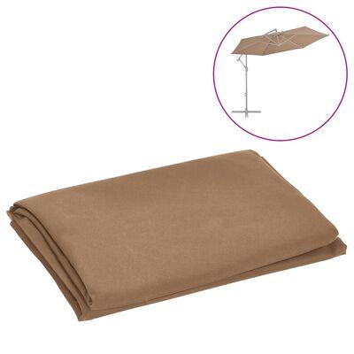 vidaXL Tissu de remplacement pour parasol déporté Taupe 300 cm