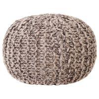 vidaXL Pouf tricoté à la main Gris clair 50x35cm Tissu Aspect de laine