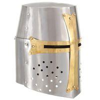 vidaXL Casque de chevalier croisé antique pour GN Argenté Acier